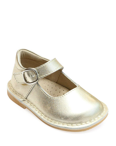 Grace Metallic Leather Mary Jane Flats, Baby/Toddler