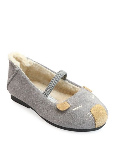 Mousie Embroidered Suede Flats, Baby/Toddler/Kids