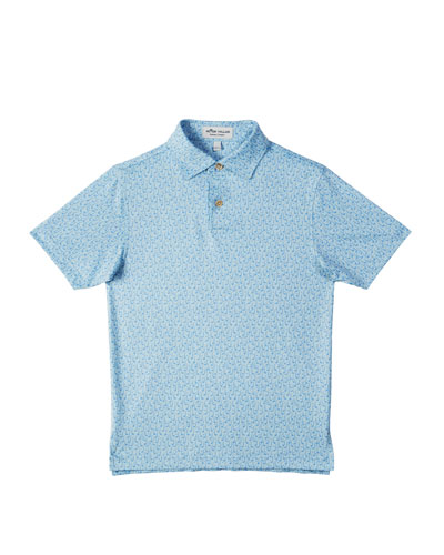 Stretch Jersey Gold Club-Print Polo, Size XS-XL