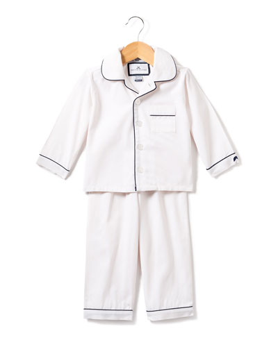 Solid Pajama Set w/ Contrast Piping, Size 6M-14