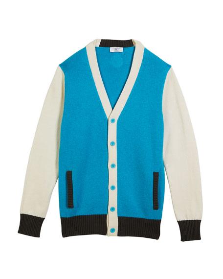 Stefano Ricci Boys' Colorblock V-Neck Cashmere Cardigan, Size 12