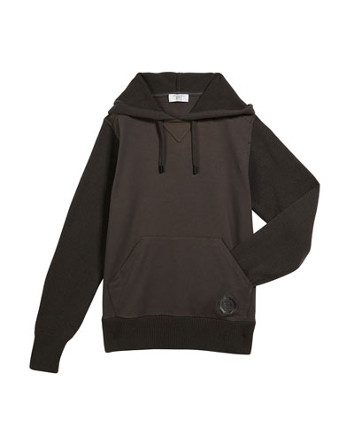 Boys' Two-Tone Cashmere Hoodie, Size 12-14