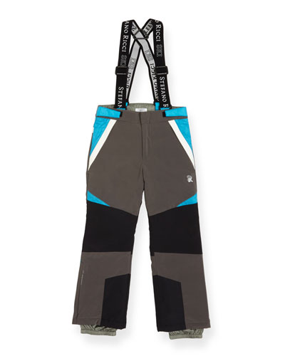 Boys' Colorblock Ski Pants with Suspenders, Size 10-14