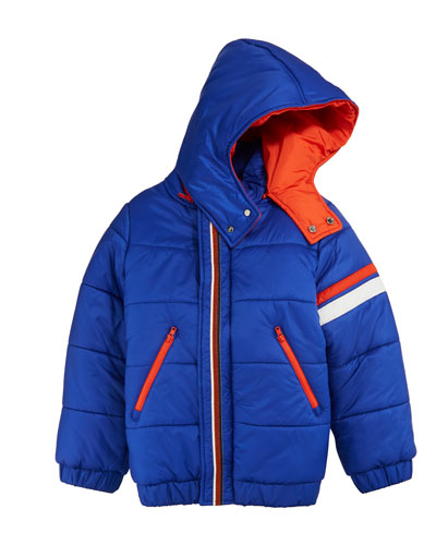 Hooded Zip-Front Ski Jacket, Size 10-14