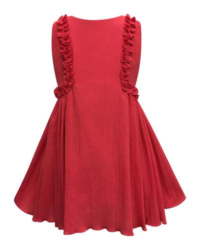 Crinkled Ruffle-Trim Dress, Size 7-14