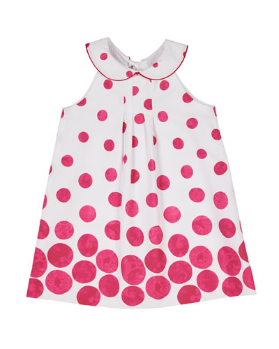 Border Circle-Print Shift Dress with Collar, Size 2-4T