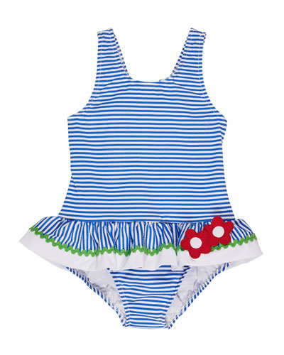Striped Seersucker One-Piece Swimsuit, Size 2-6X