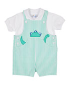 Florence Eiseman Stripe Seersucker Dino Shortall with Polo,