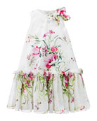 David Charles Floral Satin & Chiffon Dress, Size