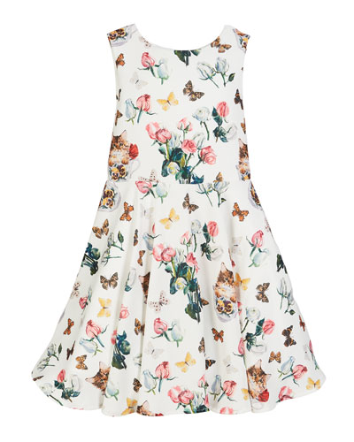 Mixed Floral Print Sleeveless Dress, Size 10-12