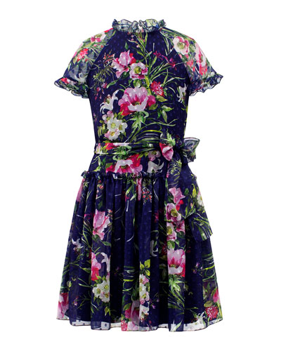 Dot Floral Chiffon High-Neck Dress, Size 8-16