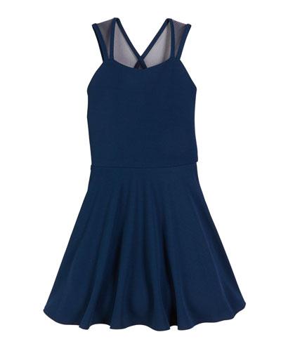 The Jackie Mesh-Trim Flare Dress, Size S-XL
