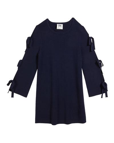 Tie-Sleeve Knit Shift Dress, Size 7-16