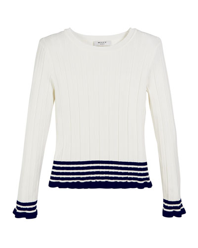 Ribbed Striped-Trim Sweater, Size 7-16