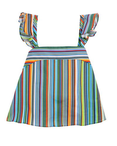 Ren Striped Ruffle Sleeveless Top, Size 7-16