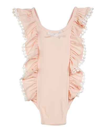 Ruffle & Pompom One-Piece Swimsuit, Size 3-24 Months