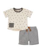 Miniclasix Star-Print Top w/ Striped Bermuda Shorts, Size
