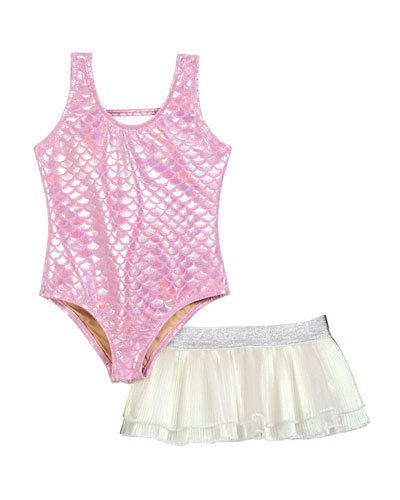 One-Piece Mermaid Swimsuit w/ Tutu Bottoms, Size 6-24 Months