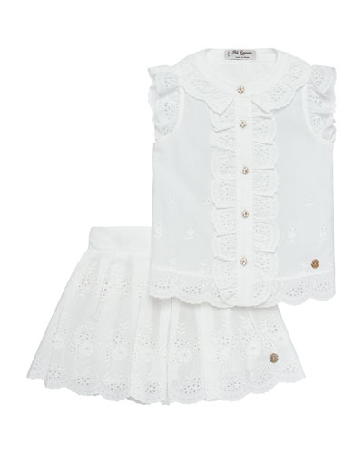 Eyelet Blouse w/ Matching Skirt, Size 4-10