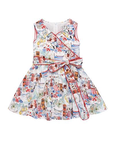 Beach Town-Print Mock-Wrap Dress, Size 4-10
