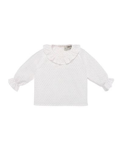 Polka-Dot Ruffle-Collar Blouse, Size 1-12 Months