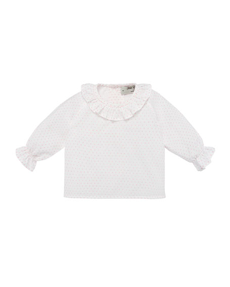 Pili Carrera Polka-Dot Ruffle-Collar Blouse, Size 1-12 Months