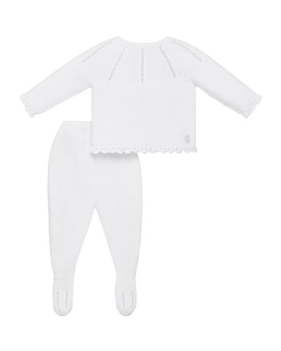 Knit Pointelle Sweater w/ Footed Leggings, Size 1-6 Months