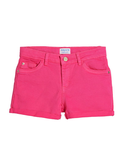 Basic Twill Shorts w/ Metallic Belt, Size 8-16