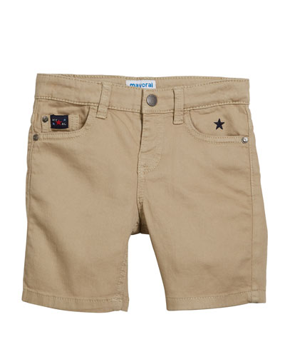 Stretch Twill Shorts, Size 4-7