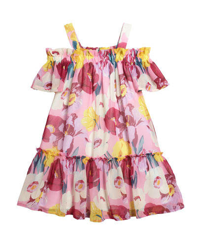 Floral Print Chiffon Dress, Size 8-16