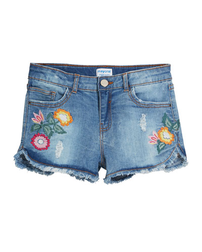 Distressed Denim Shorts w/ Floral Embroidery, Size 8-16
