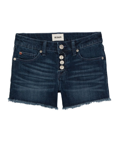 Girls' Luna Raw-Edge Denim Shorts, Size 7-16