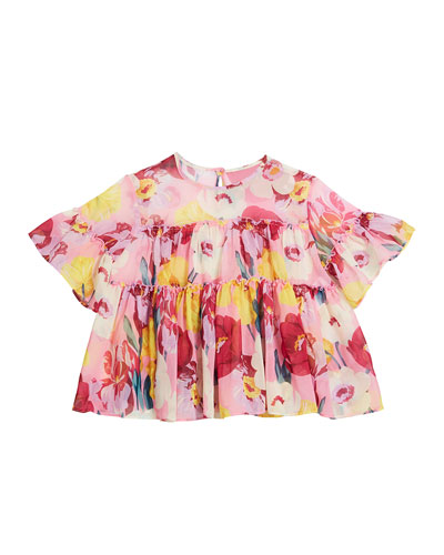 Floral Print Chiffon Blouse, Size 8-16