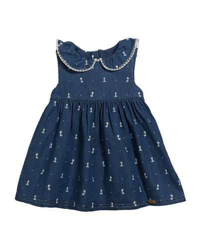 Chambray Giraffe-Print Dress, Size 2-12 Months