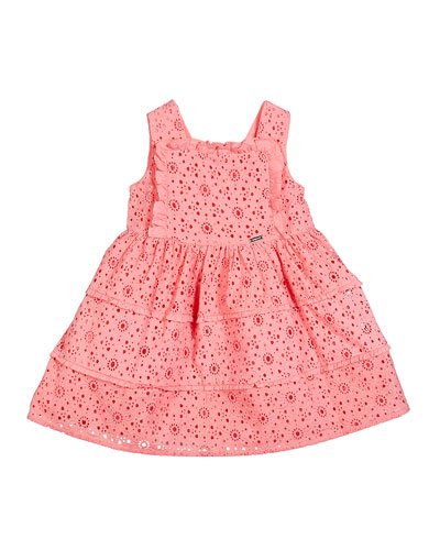 Ruffle-Trim Lace Dress, Size 12-36 Months