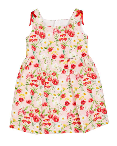 Floral-Printed Pleated Sun Dress, Size 12-36 Months