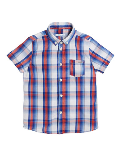 Short-Sleeve Plaid Shirt, Size 4-7
