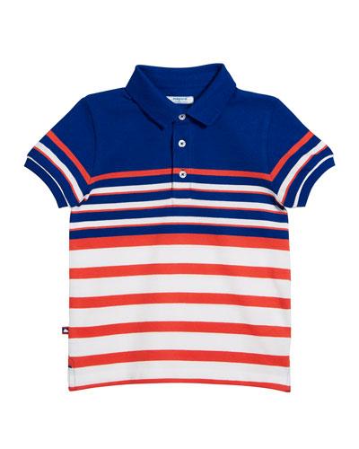 Multi-Stripe Short-Sleeve Polo Shirt, Size 4-7
