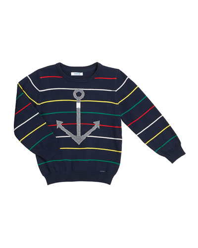 Stripe Cotton Sweater w/ Anchor Intarsia, Size 4-7