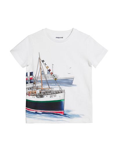 Short-Sleeve Captain Ship Graphic T-Shirt, Size 4-7