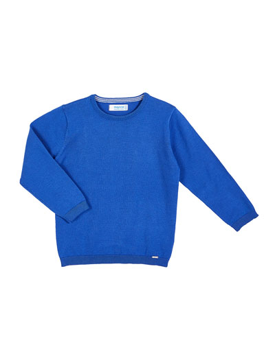Basic Knit Crew Neck Sweater, Size 4-7