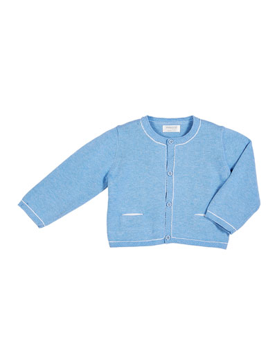 Mixed Knit Button-Front Cardigan, Size 2-12 Months
