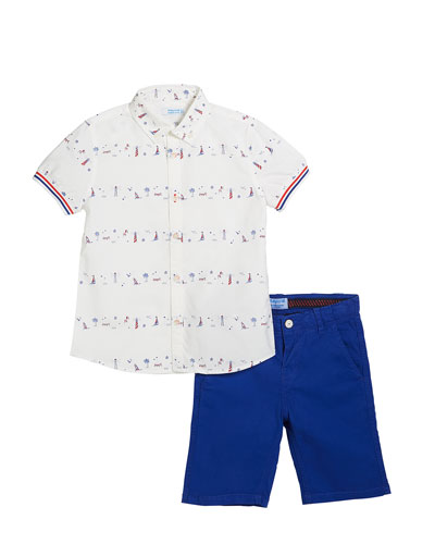 Lighthouse & Boat Print Collared Shirt w/ Bermuda Shorts, Size 4-7
