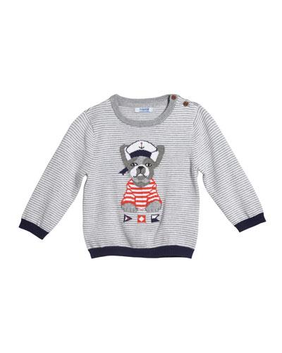 Striped Bulldog Intarsia Sweater, Size 12-36 Months