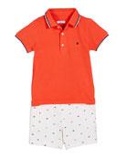 Mayoral Knit Pique Polo Shirt w/ Flag Print