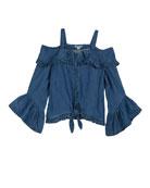 Habitual Esme Cold-Shoulder Ruffle-Trim Chambray Top, Size 7-14