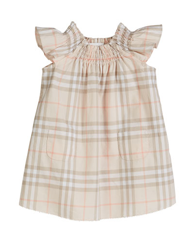 Vinya Washed Check Flutter-Sleeve Dress, Size 6M-2