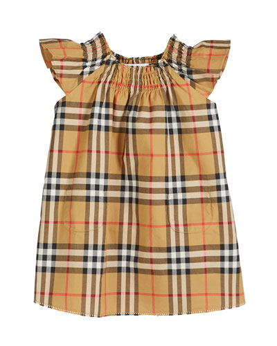 Vinya Check Flutter-Sleeve Dress, Size 6M-2