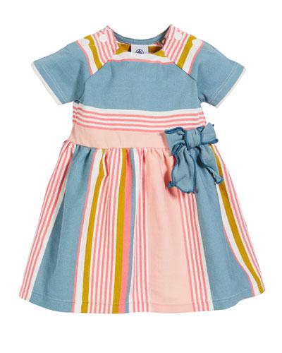 Multi-Stripe Short-Sleeve Dress, Size 3-36 Months