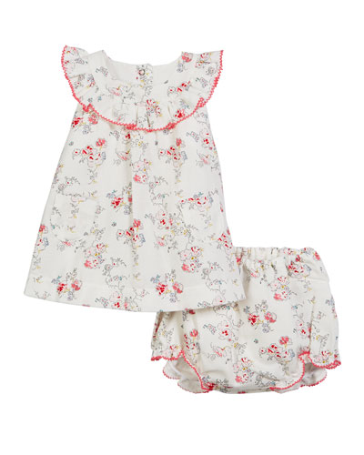 Ruffle Collar Floral Dress w/ Matching Bloomers, Size 3-18 Months